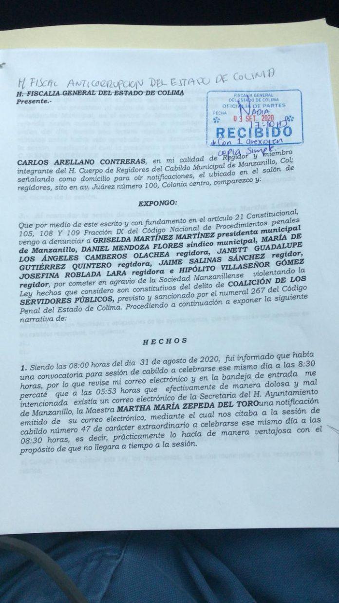Demandan ante la fiscalía anticorrupción a la presidenta Griselda Martínez Martínez