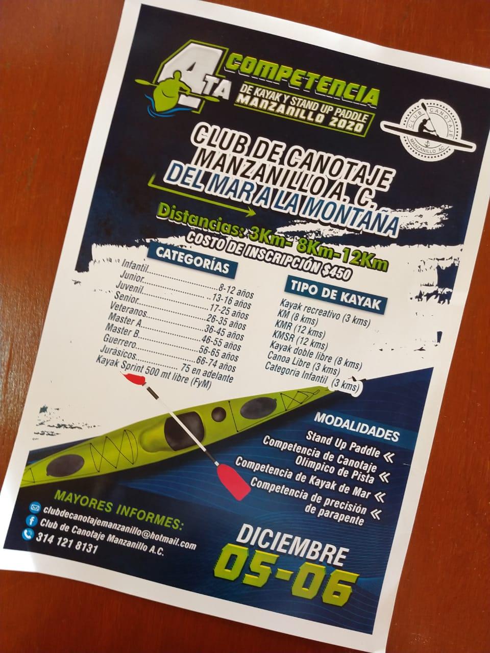 Club de Canotaje Manzanillo realizará 4ta competencia de Kayak 2020