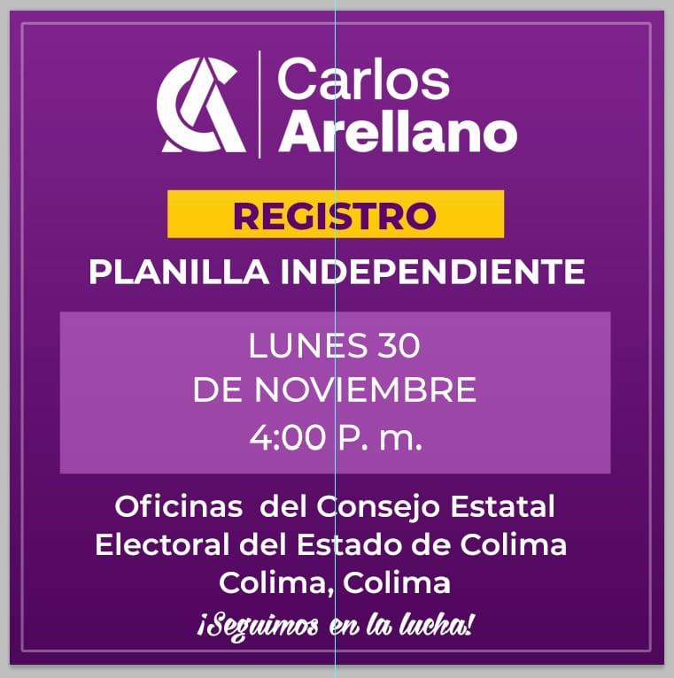 Este lunes registra Carlos Arellano planilla independiente ante el CEE
