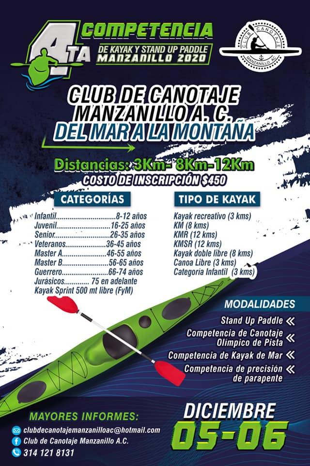Este sábado 4ta competencia de Kayak Stand Up Paddle Manzanillo 2020