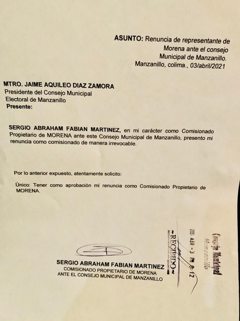 Renuncia representante de MORENA ante el IEE por irregularidades en candidatos designados